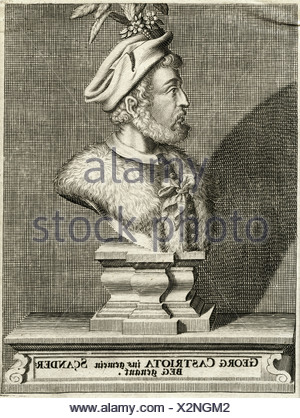 Skanderbeg (George Kastrioti), 6.5.1405 - 17.1.1468, Albanian prince, portrait as bust, engraving by anonymous, Artist's Copyright has not to be cleared - Stock Photo