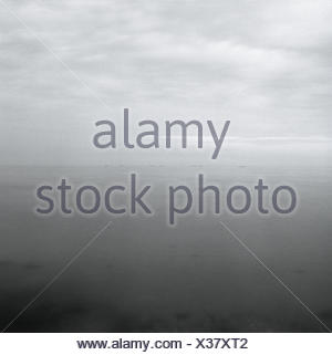 Denmark, Island of Samso, Baltic, salmon farm, haze, - Stock Photo