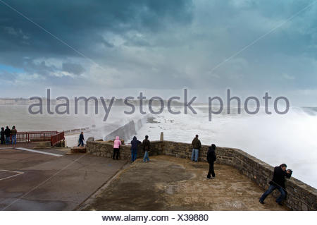 Waves breaking on Socoa dyke during storm 'Klaus', Basque Country, France - Stock Photo