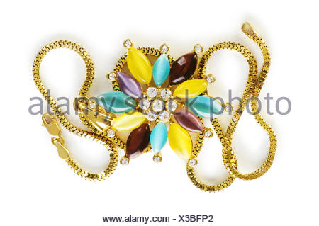 macro close-up macro admission close up view isolated colour coloured colourful gorgeous multifarious richly coloured jewelry - Stock Photo