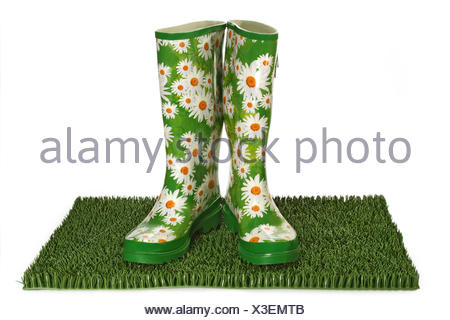boot rubber boot flowered - Stock Photo