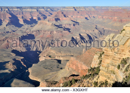 View from Mather Point on the South Rim, Grand Canyon National Park, Arizona, USA - Stock Photo