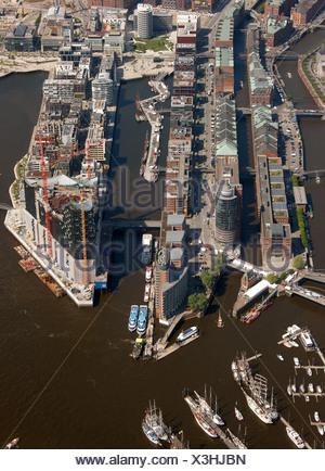 Aerial view, Speicherstadt historic warehouse district, Elbphilharmonie philharmonic hall, Hafencity harbour district - Stock Photo