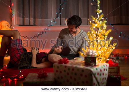 Young couple at christmas - Stock Photo