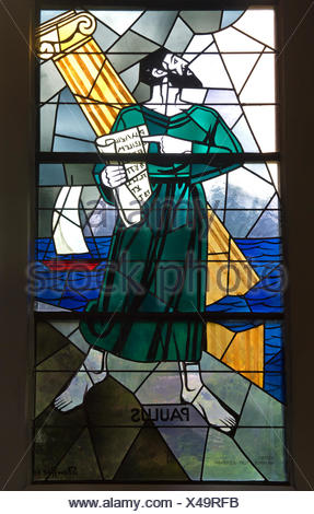 Apostle Paul, stained glass window of the Evangelical reformed church Trubschachen, Canton of Bern, Switzerland - Stock Photo