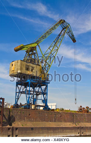harbor, harbours, Duisburg, old, blue, industry, green, brown, brownish, - Stock Photo