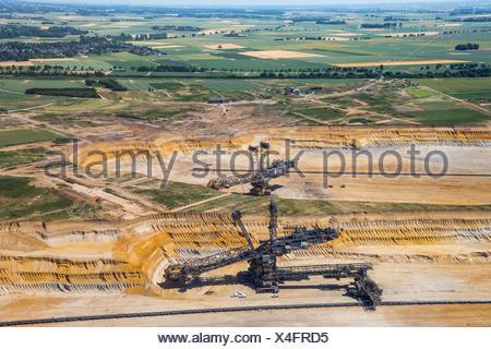 Lignite-coal excavator, open-cast lignite mine Garzweiler, RWE-Power, Rheinische Braunkohlerevier, Borschemich, Jüchen - Stock Photo