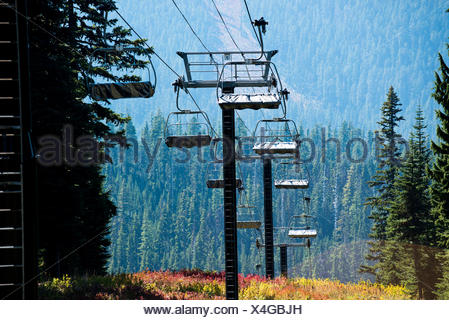 The chairlifts at Mt. Hood are covered for the summer. - Stock Photo