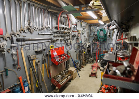 Organized tools at gas plant - Stock Photo