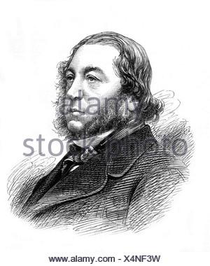 Rothschild, Mayer Amschel Baron de, 29.6.1818 - 6.2.1874, British politician (Lib.), portrait, wood engraving, 19th century, , Additional-Rights-Clearances-NA - Stock Photo