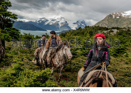 Bagualeros, cowboys who capture feral livestock, on an expedition with their dogs. - Stock Photo