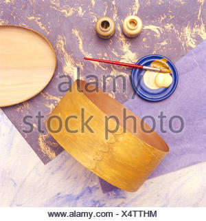 Materials for applying decoupage to a plywood box - Stock Photo