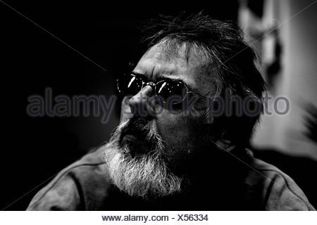 face mood beard filter moustache attitude darkly divan partner spouse husband - Stock Photo