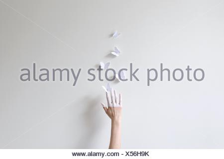 A hand half painted in white reaching for paper butterflies against white wall - Stock Photo