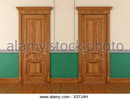 Two wooden doors in a vintage room - rendering - Stock Photo
