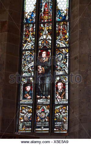 fine arts, religious art, church window, St. Mary's Church, Koenigsberg in Bavaria, Artist's Copyright has not to be cleared - Stock Photo