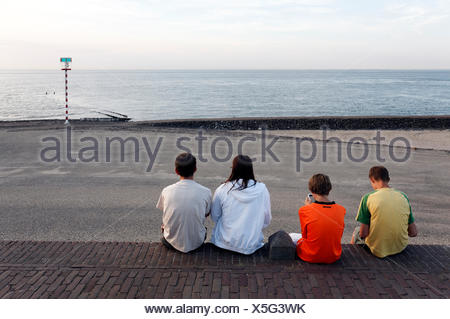 Young people sitting on the dike in the evening, looking on the sea, Westkapelle, Walcheren, Zeeland, Netherlands, Benelux - Stock Photo