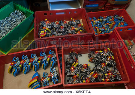 Tin Toys from the 1950s, various parts of motorcyclists in assembly boxes, tin toys, Emskirchen, Brunn, Upper Franconia, Bavaria - Stock Photo