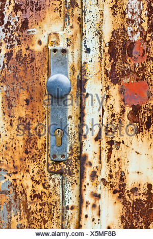 An old rusty gate door and lock - Stock Photo