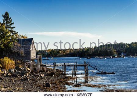 Coastal shack, Mt Desert Island, Maine, USA - Stock Photo