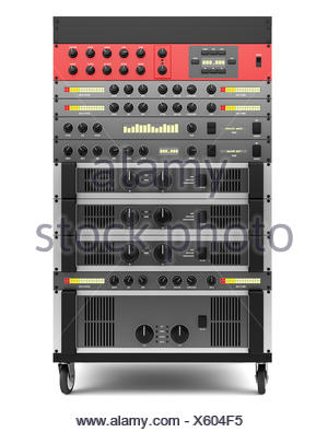 audio effects processors in a rack isolated - Stock Photo