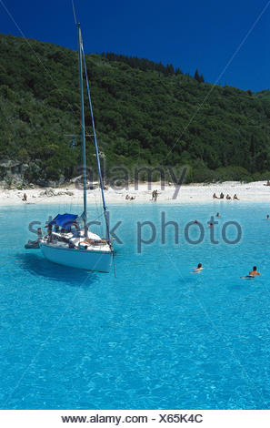 Greece, island Antipaxos, blue lagoon, beach, sailboats, outside, summer, Ionian islands, Corfu, sea, Paxos, sandy beach, beach - Stock Photo