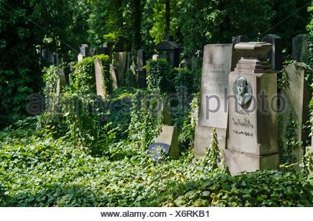 The New Jewish Cemetery in Prague, Czech Republic, Europe - Stock Photo