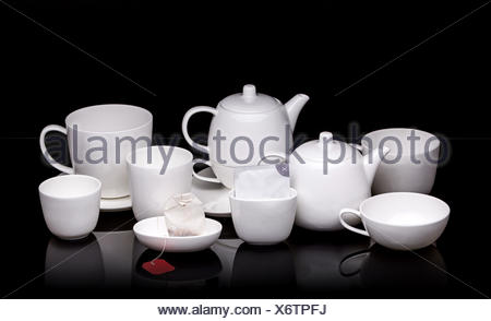 White ceramic tea set - Stock Photo
