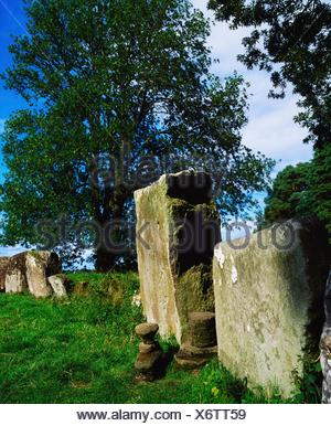 Grange Stone Circle, Co Limerick, Ireland; Stone Circle Near Lough Gur - Stock Photo