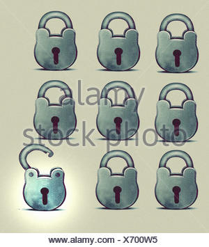 One open padlock standing out from the crowd among rows of closed padlocks - Stock Photo