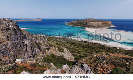 Akrotiri Tigani, Balos, blue, bay, Gramvousa, Greece, Europe, peninsula, island, isle, Kissamos, Crete, Mediterranean, sea, pirat - Stock Photo