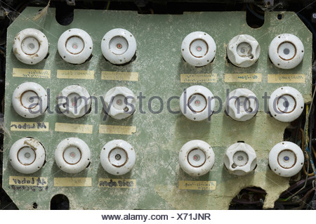 Germany, Antique old dusty fuse box - Stock Photo
