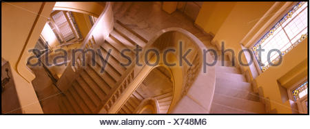 High Angle View Of Stairs And Hand Rails - Stock Photo