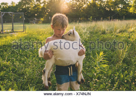 Boy carrying a young goat - Stock Photo