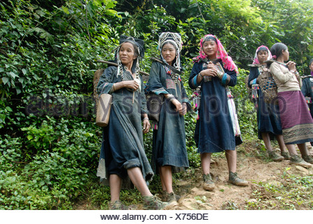Poverty, young women of the Akha Nuqui ethnic group with carrying baskets in the jungle, traditional dress, indigo color, - Stock Photo