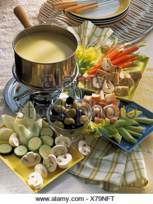 Classic bagna cauda, Italy, recipe available for a fee - Stock Photo