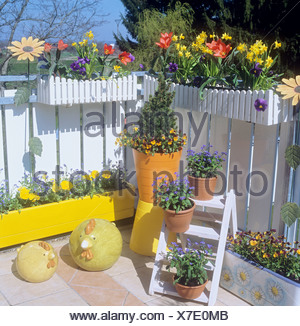 balcony with different flowers - Stock Photo