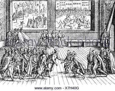 Chatel, Jean, 1575 - 29.12.1594, French student and assassin, murder attack at King Henry IV of France, Paris, 27.12.1594, back: his execution, contemporary copper engraving, Artist's Copyright has not to be cleared - Stock Photo