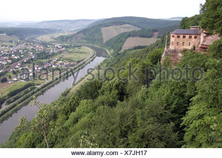 Germany, Rhineland-Palatinate, Saarburger country, Kastel-Staadt, Klaus, valley, the Saar, overview, - Stock Photo