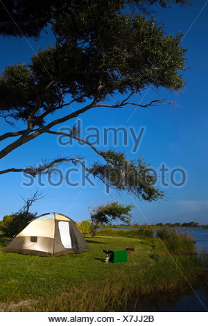 Campsite on the banks of Shelby Lakes in Gulf Shores, Alabama. - Stock Photo
