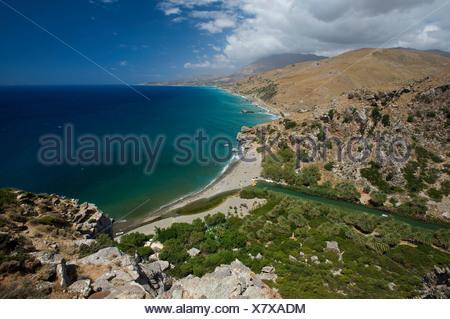 Preveli Beach, South Coast, Crete, Greece, Europe - Stock Photo