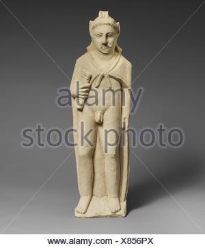 Limestone statuette of Pan. Period: Hellenistic or Roman; Culture: Cypriot; Medium: Limestone; Dimensions: Overall: 21 1/2 x 6 3/4 x 3 1/2 in. (54.6 - Stock Photo