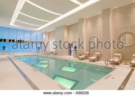swimming pool at the Rosewood Hotel Georgia, Vancouver, BC, Canada - Stock Photo