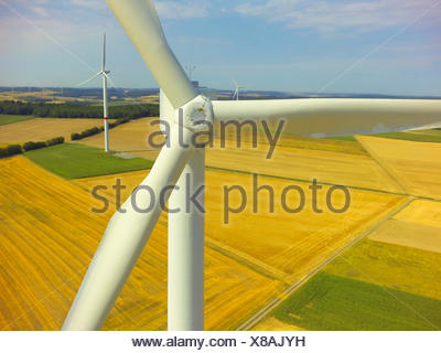 wind power station in summer field landscape, aerial view, 06.08.2015, Germany, Baden-Wuerttemberg, Odenwald - Stock Photo