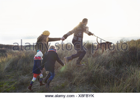 Mid adult couple strolling in sand dunes with their son, daughter and dog - Stock Photo