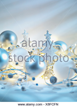 Christmas ornaments and string light - Stock Photo