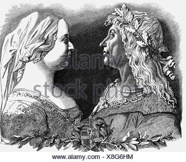 Matthias I Corvinus, 27.3. 1443 - 6.4.1490, King of Hungary 24.1.1458 - 6.4.1490, with wife Beatrice of Aragon, wood engraving, 19th century, , Additional-Rights-Clearances-NA - Stock Photo