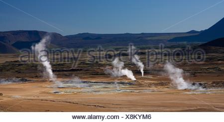 solfatara field of Namafjall, Iceland, Myvatn - Stock Photo