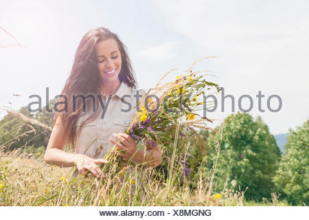 Young woman holding bunch of fresh picked wildflowers in field - Stock Photo