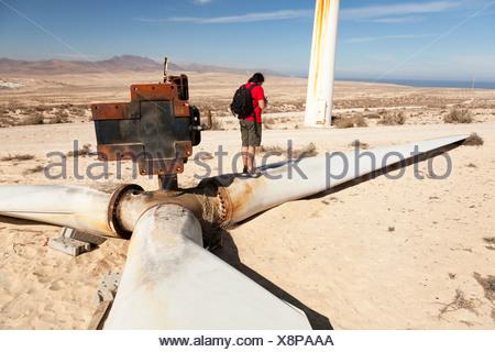 Broken wind turbine - Stock Photo